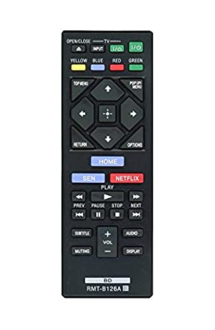 Replacement RMT-B126A Remote for Sony DVD Blu-Ray Players (Substitute for RMT-VB100U and (Blu Ray Sony Bdp S6200)