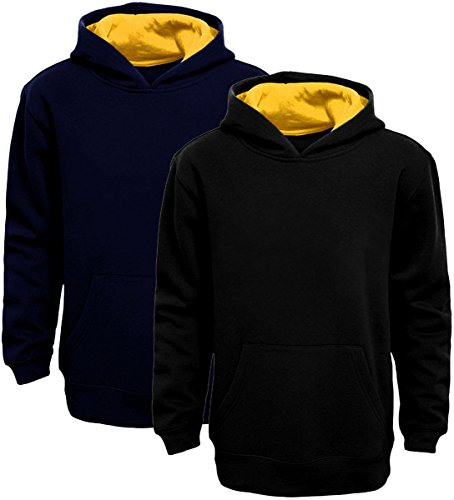Boy's Pullover Hoodie (XS, Navy Blue-Yellow)