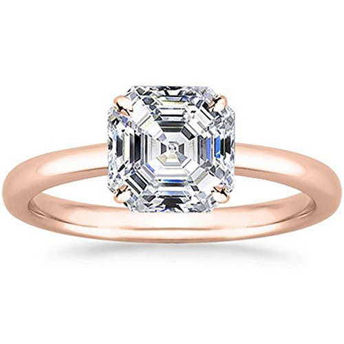 14K Rose Gold Asscher Cut Solitaire Diamond Engagement Ring (0.5 Carat D-E Color VS1 Clarity)