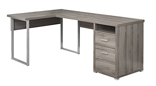 Monarch Specialties I 7255 Computer Desk Left or Right Facing Dark Taupe -