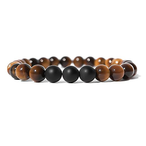 SX Commerce Real Natural Matte Black Onyx Stone Bead Bracelet with Unique Tiger Eyes - Fashion Jewelry for unisex-adult size 8mm 26grain (Brown B1314) -
