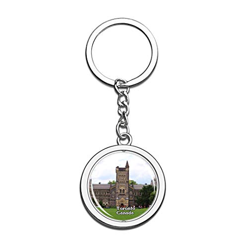 Keychain University of Toronto Canada Keychain 3D Crystal Spinning Round Stainless Steel Keychains Travel City Souvenir Key Chain -