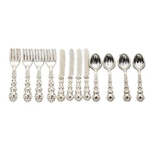 5PCS bronze kitchen forks Dollhouse Miniature Flatware Settings 1:12 Scale miniature flatware decoration doll miniature Tableware blythe bjd