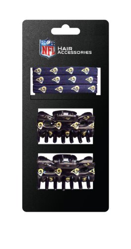 NFL St. Louis Rams Hair Accessory 2-Hair Clips and 3-Elastic Ponytail Bands