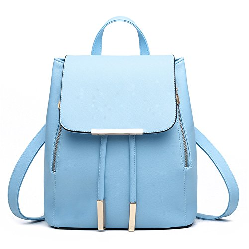 KARRESLY Women's Mini Backpack Purse PU Leather Rucksack Purse Ladies Casual Shoulder Bag School Bag for Girls(Light Blue)