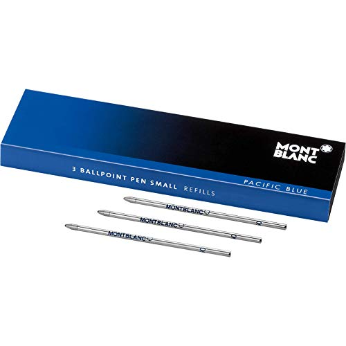 Montblanc Ballpoint Pen Refills Small Pacific Blue 116194 - Refill Cartridges for Meisterstück Hommage à W.A. Mozart and Augmented Paper Ball Pens - 3 x Blue Ballpoint Refills
