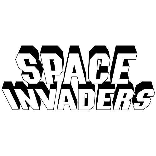Space Invaders Video Game Logo Vinyl Decal Sticker - For wall, vehicle, computer, home decor (52x22 inch, Gloss Black) by Bad Fish Custom