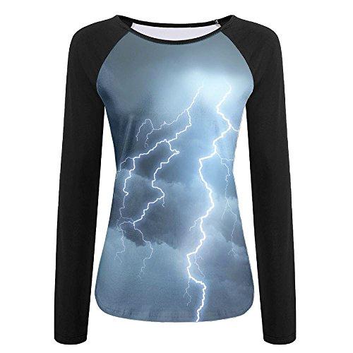 (Womens Thunderstorm Lightning Fashion Raglan Long Sleeve Tshirts Soft Quick-dry Pullover Sweatshirt For Sports Jogging Hiking Baseball Jersey Tee Shirt)
