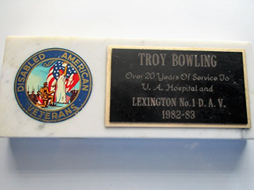 Disabled American Veterans Paperweight ... Troy Bowling Lexington No. 1 DAV 1982-83