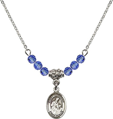 September Birth Month Bead Necklace with Saint Ambrose Petite Charm, 18 - Collection Ambrose