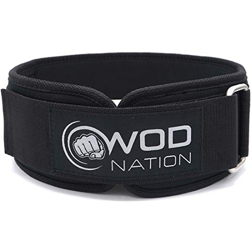 WOD Nation Weight Lifting Belt - 4 Inch Firm Support Nylon Weight Belt for Deadlift, Squat & Weightlifting - Sizes for Both Men & Women - Medium