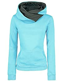 DOKER Women Personality Spring Autumn Lapel Hoodie Pullover Long Sleeve Sweater