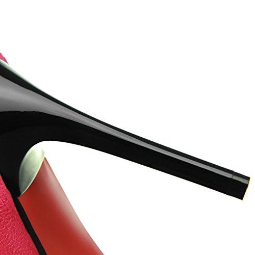HooH Damen Metall D Pointed Toe Bowknot Stiletto Pumps Rosarot