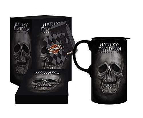 Harley-Davidson Tall Boy Travel Latte Mug, H-D Skull, Gift Box Set (Harley Davidson Racks)