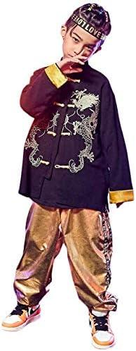 ダンス 衣装 キッズ ヒップホップ セットアップ ダンス衣装キッズ 子供 HIPHOP 中華風 シャツ 男の子 パンツ 男の子 練習着 かっこいい ジャズダンス JAZZ パーカー ダンスウェア 子ど ランニング ジュニア (トップス+パンツ,170)