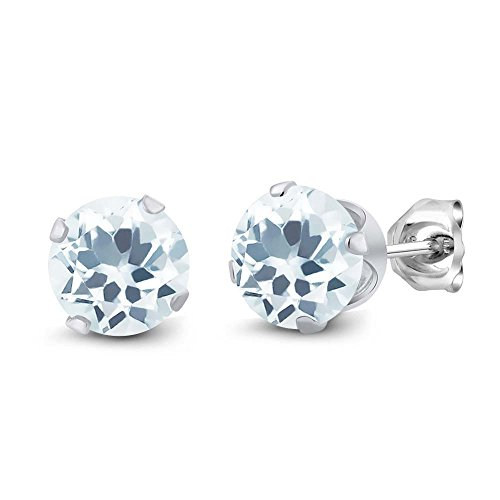1.50 Ct Round Sky Aquamarine Gemstone Birthstone 925 Silver Stud Earrings 6mm