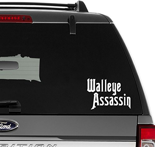 - Walleye Assasin Fish Fishing Vinyl Decal Sticker for Wall Decor, Windows, Laptop, Car, Truck, Motorcycle, Vehicles (Size-8 inch/20 cm Wide) - (Gloss White Color)