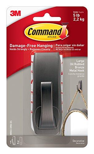 Command Modern Reflections Metal Hook, Large, Oil Rubbed Bronze, 1-Hook - Modern Metal