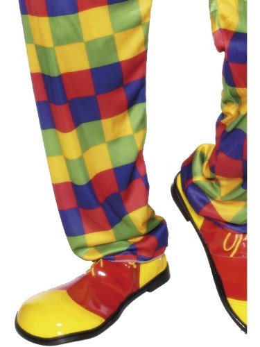 Shoes Clown (Smiffy's Adult's Unisex Clown Shoes, Yellow and Red, One Size,)
