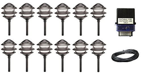 14 Piece Malibu 3-Tier Cast Metal Pathway Yard Landscape Lights,11 Watt, in Matte Black + 150 watt Transformer + 100 ft low voltage landscape wire. BY MALIBU DISTRIBUTION