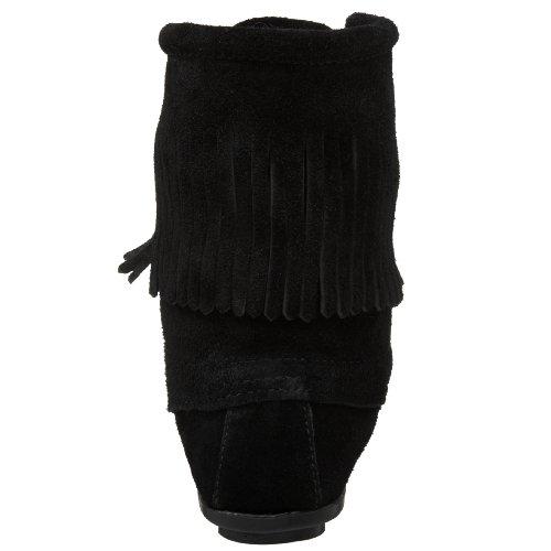 Minnetonka Tramper Ankle Hi Boot, Bota Mocasín de Cuero Mujer Negro