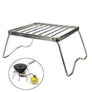 Geekbuzz Portable Camping Grill Compact Mini Stainless Steel Campfire Charcoal Gas BBQ Grill Rack for Backpacking, Hiking, Picnics, Fishing