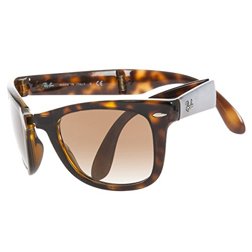 Ray-Ban Men's Folding Wayfarer Square Sunglasses, Light Havana & Crystal Brown Gradient, 54 - Case Ray Folding Ban