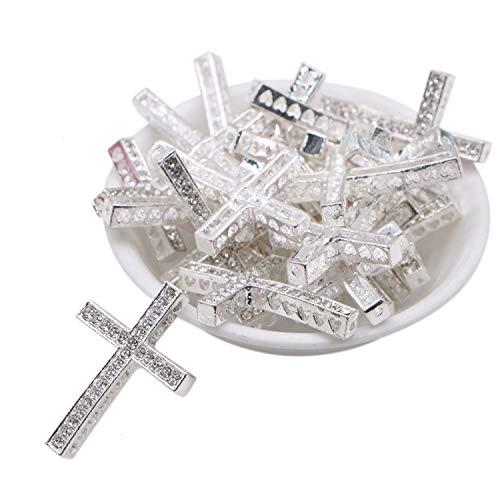 - JETEHO 20pcs Clear Crystal Inlay Cross Sideway Metal Connector Bead DIY Shamballa Bracelet Jewelry Making Findings