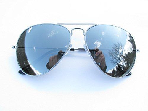 ALPLAND - Sonnenbrille - AVIATOR STYLE FLIEGERBRILLE - PILOTENBRILLE Gläser SILBER FLASH VOLL VERSPIEGELT XXL Gläser! !