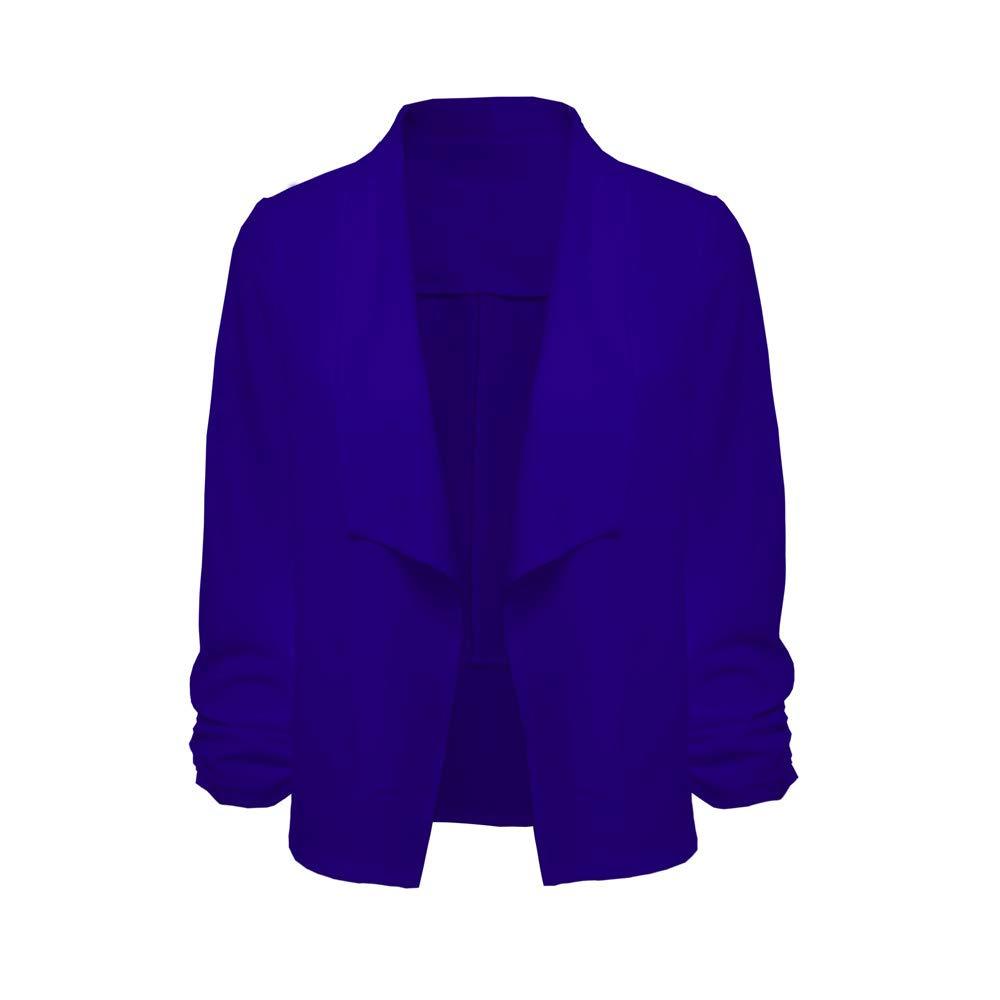 Damen Blazer Kurzjacke Jacke Klassischer Verschlussloser Kurzblazer Taillierter mit Langarm und Schal Kragen von Innerternet