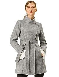 Allegra K Women's Classic Stand Collar Long Sleeve Winter Belted Long Coat
