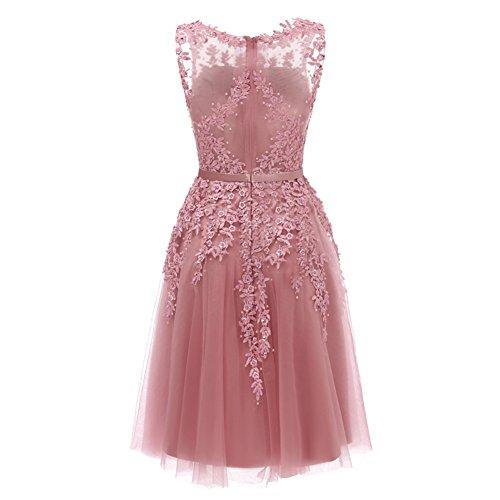 Spitzenkleid Partykleid Engerla Rosa Ärmellos Kleid Damen Cocktailkleid Retro Brautjungfern Kurz Abendkleider OOZzYw