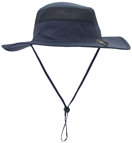 Camo Coll Outdoor Sun Cap Camouflage Bucket Mesh Boonie Hat (Navy Blue, One Size)