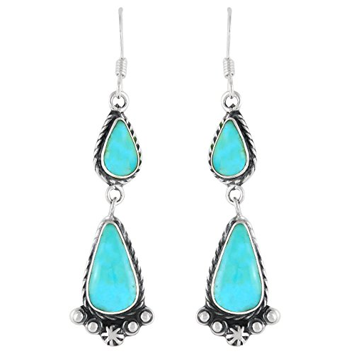 Turquoise Earrings in 925 Sterling Silver & Genuine Turquoise by Turquoise Network (Western Dangles)