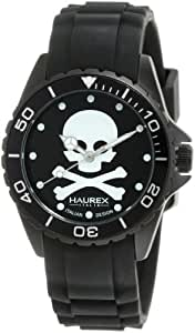 Haurex Italy Women's 1K374XNS Ink Black Skull Rubber Watch