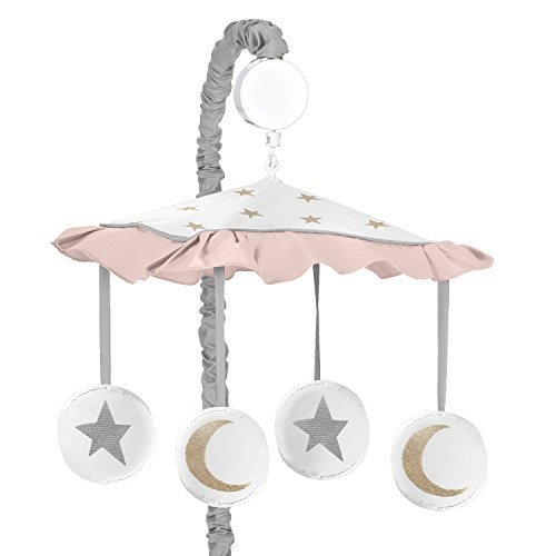 Sweet Jojo Designs Blush Pink, Gold, Grey and White Star and Moon Musical Baby Crib Mobile for Celestial Collection