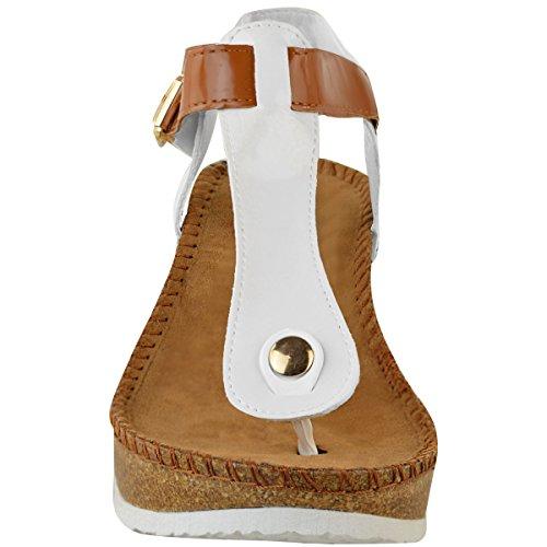 Moda Donna Sete Wedge Sandali Comfort Ammortizzati Infradito Scarpette Dimensioni Scarpe Brevetto Bianco