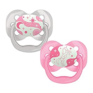 Dr. Browns Advantage Glow-in-The-Dark 2 Piece Stage 1 Pacifiers, Pink, 0-6 Months