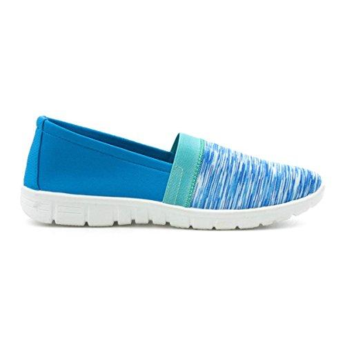 Lilley Womens Blue Space Dye Slip On Casual Shoe Blue