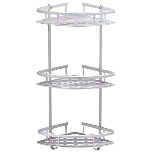 H-Home Adjust 3-Tier Corner Shower Caddy Stainless Steel Brushed Shower Rack, Ivory White (H-Home002)