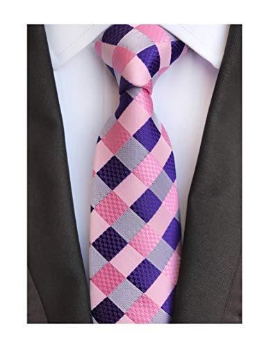 Mens Casual Pink Purple Check Silk Ties Designer Brands Wedding Designer Necktie by Kihatwin