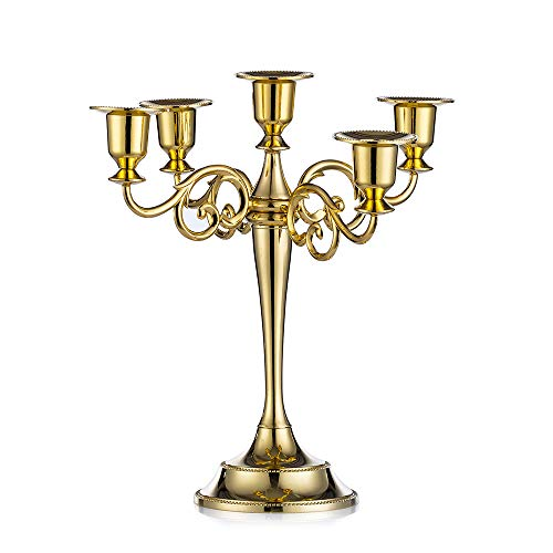 Metal Candle Holder 5-arms Candle Stand 27cm Tall Wedding Event Candelabra Candle Stick (Gold)