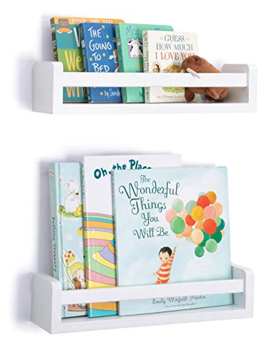 Floating Shelves, Set of 2 – Modern Wall Shelf with Rails – Premium Baby Room Furniture and Nursery Decor – Kids Bookshelf and Toy Storage – Shelving for Books and Toys