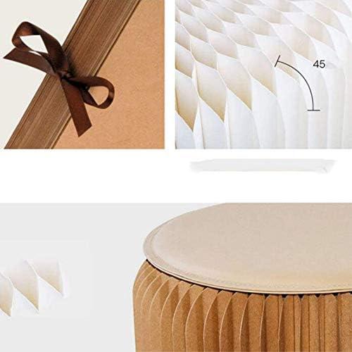 HKDJ-Tabouret Pliant en Carton, Chaise Ronde Créative Papier Kraft avec Structure Hexagonale en Nid d'abeille pour L'école, Le Salon, La Salle À Manger Et Le Dortoir