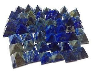 (CRYSTALMIRACLE Lot Of 9 Lapis Lazuli Loose mini Pyramids Crystal Healing Wellness Reiki Feng shui Bagua Powerful Meditation Throat chakra positive energy psychic ability Gemstone gift)