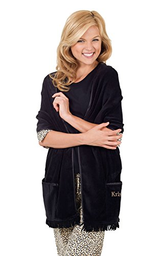 PajamaGram Women's Soft Cuddle Up Fleece Wrap, Black, One...
