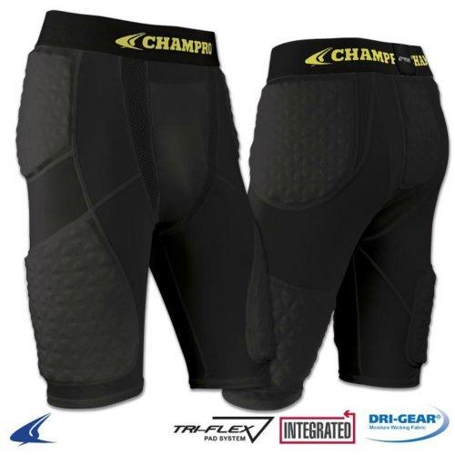 Champro Tri-Flex Padded Basketball Shorts (Black, Youth Large)