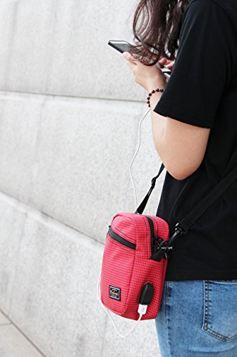 with Purse USB Travel Crossbody Unisex Port Shoulder Outdoor Charger Pacmaxi Bag Red 1qtBFw