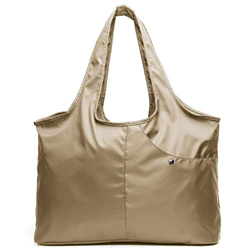 - Shoulder Bag for Women, Waterproof Shopping Lightweight Work Purse and Handbag Travel Tote Oxford Nylon Large Capacity Hobo (8045_Khaki)