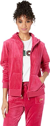 Juicy Couture Pink Heart - Juicy Couture Women's Glitter Heart Hoodie Raspberry Pink X-Large